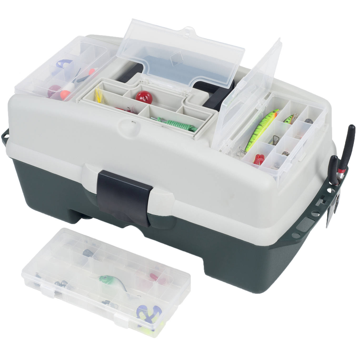 Wakeman Fishing 2-Tray Tackle Box with 3 Removable Organizers, 18""