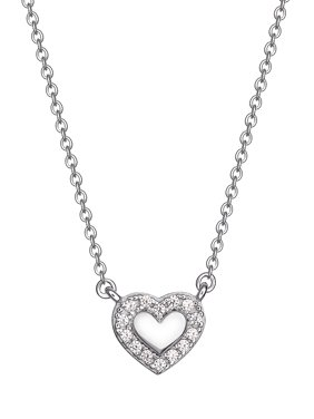 "Cubic Zirconia Heart Necklace in Sterling Silver, 16"" + 2"""