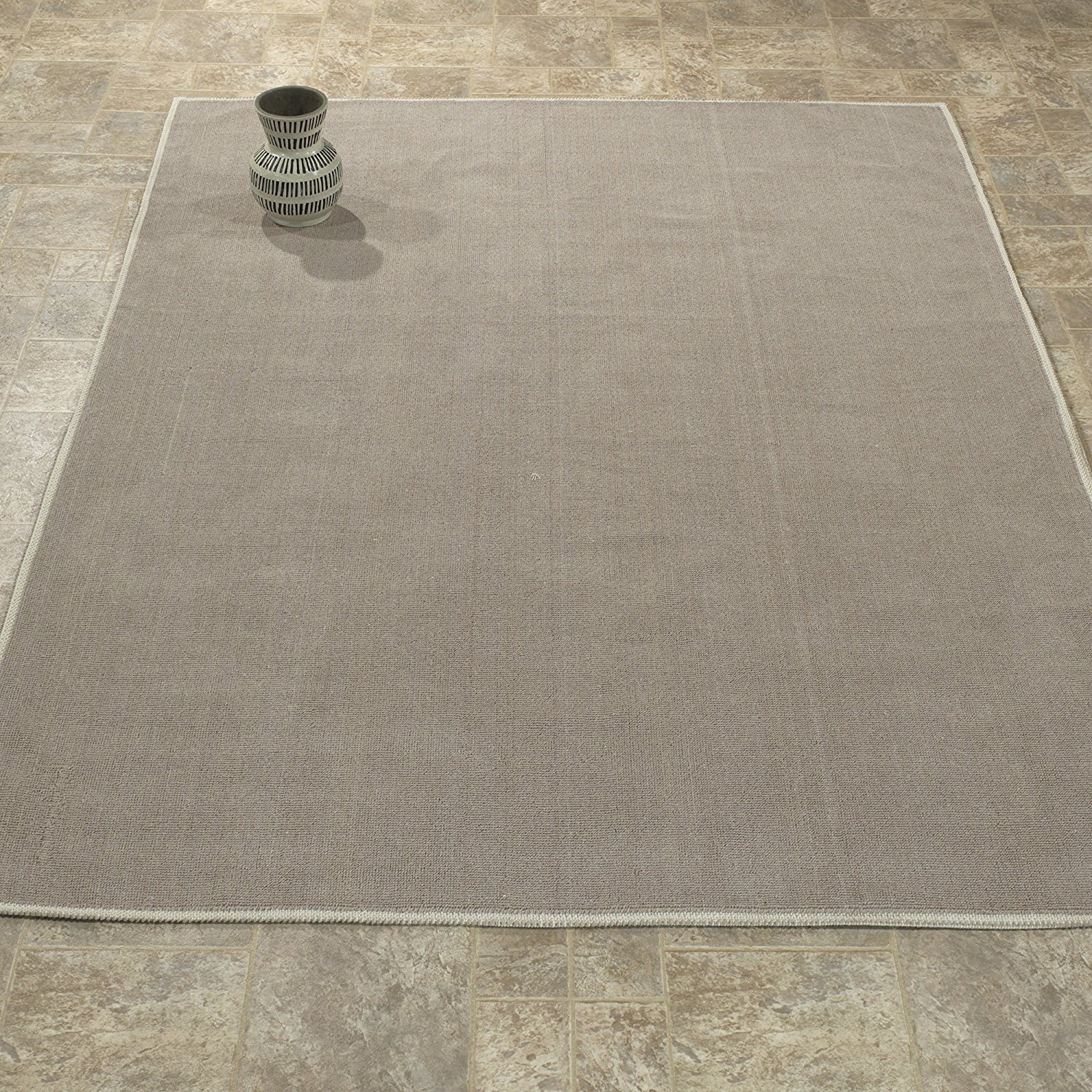 Ottomanson Nature Cotton Kilim Collection Solid Design Area or Runner Rugs