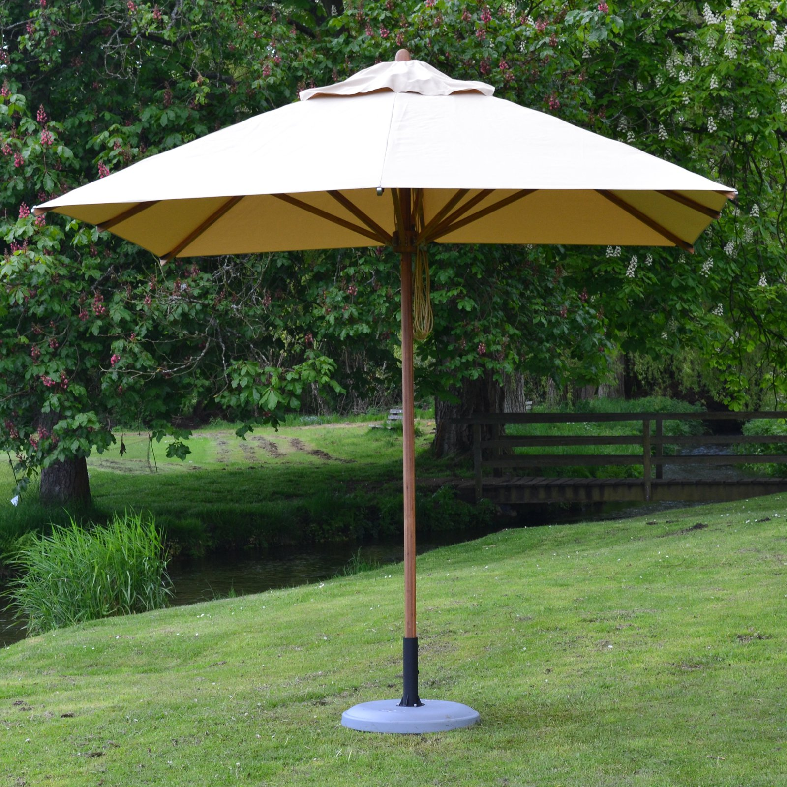 Bambrella Levante 8.5 ft. Square Bamboo Market Patio Umbrella with 2 in. Pole Diameter