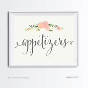 Appetizers Floral Roses Wedding Party Signs