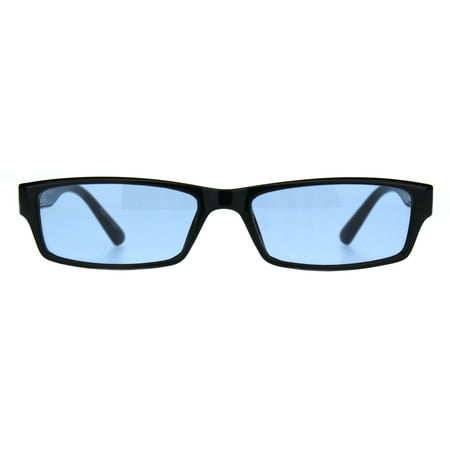 Mens Hippie Pimp Color Lens Narrow Rectangular Black Frame Sunglasses (Narrow Frame Sunglasses)