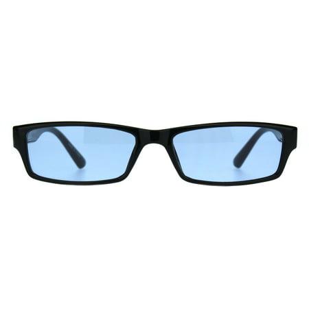 Mens Hippie Pimp Color Lens Narrow Rectangular Black Frame Sunglasses Blue