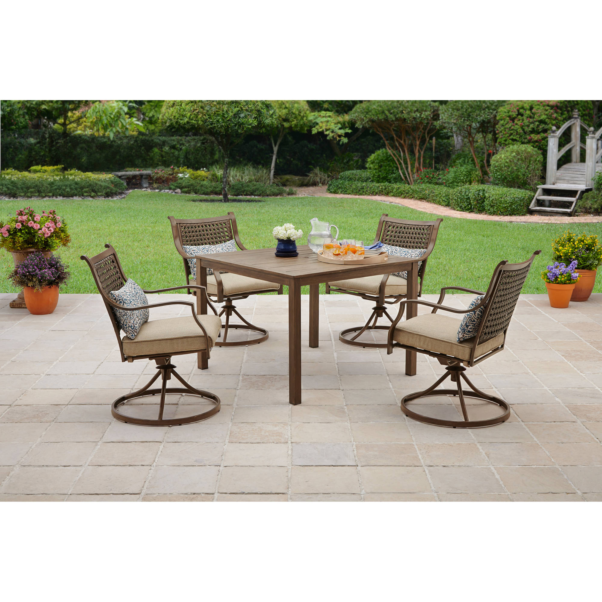 Better homes and gardens lynnhaven park 5 piece patio for Jardin 8 piece dining set