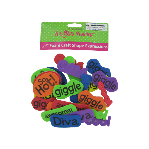 Foam Word Expressions Craft Sticker Shapes (Pack Of 12)