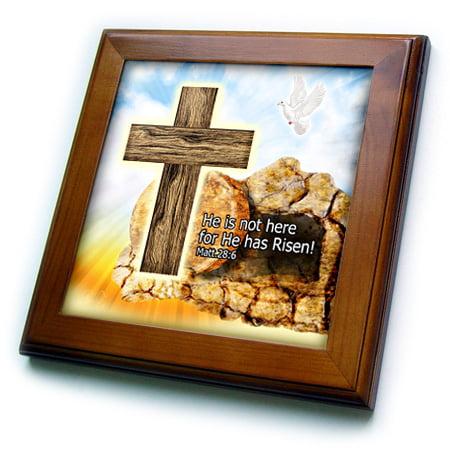 3dRose Easter Cross of Jesus He is Risen tomb in background Artwork - Framed Tile, 6 by 6-inch