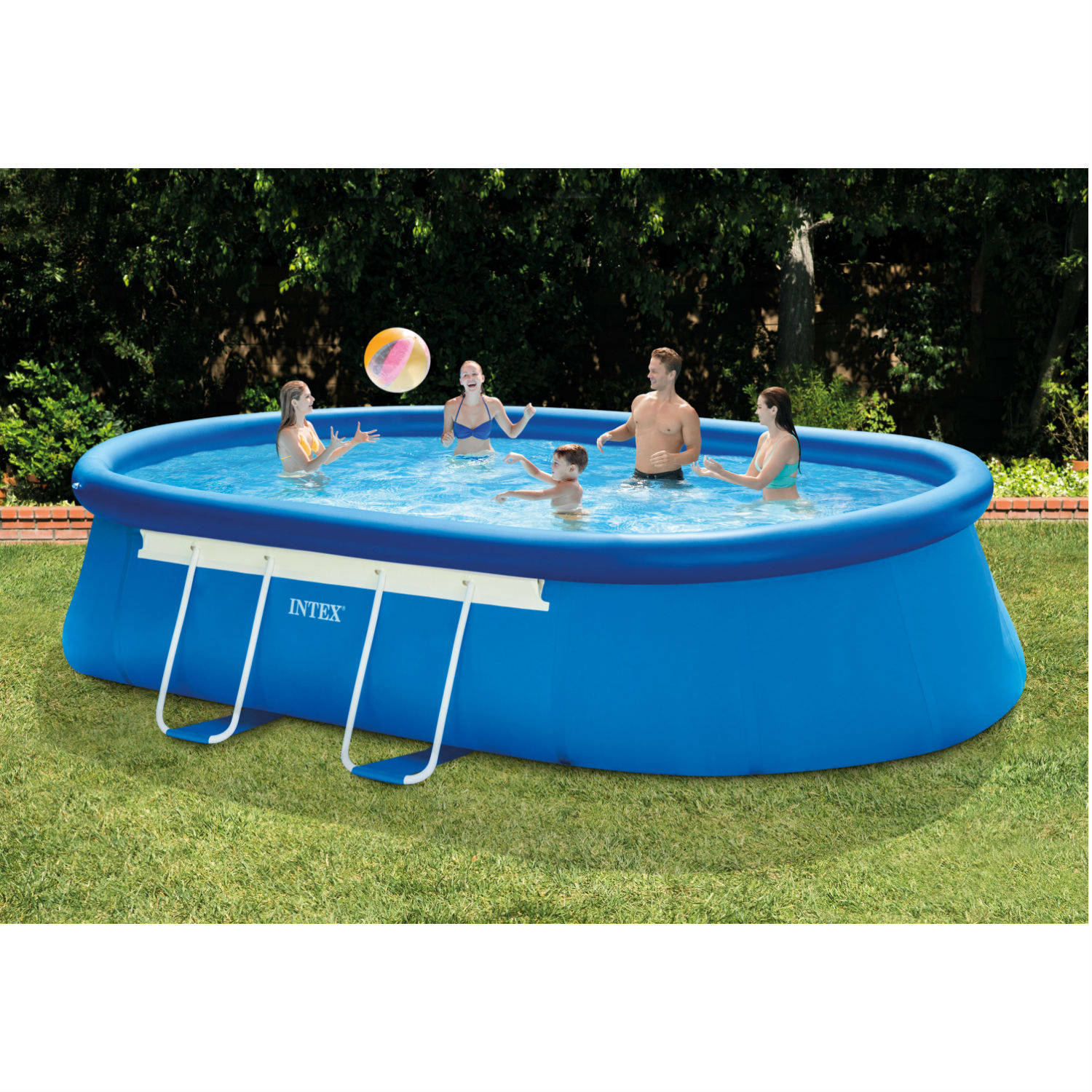 """Intex Pools intex 18' x 10' x 42"""" oval frame above ground swimming pool with"""