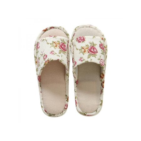 4048a2a34d24 Topumt - Topumt Women Men Anti-slip Linen Floral Slippers Home Indoor  Summer Open Toe Flat Shoes Slippers Sandals - Walmart.com