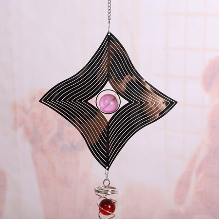 Shaken Chime Ball (Specular 3D Metal Hanging Wind Spinner Wind Chime Garden Decor with Crystal)