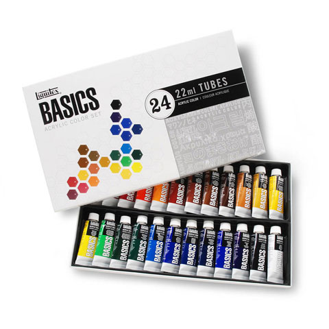 Liquitex Basics Acrylic Paint Set - 22mL Tubes - 24 pieces