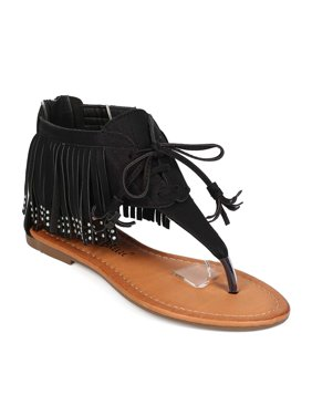 72f772205fc2e Product Image Nature Breeze EG24 Women Leatherette Open Toe Fringe Zip  Thong Sandal