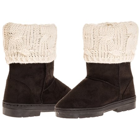 Sara Z Girl's Suede Lug Sole Winter Boot With Fold-Over Sweater Cuff (Black), Size 2-3 for $<!---->
