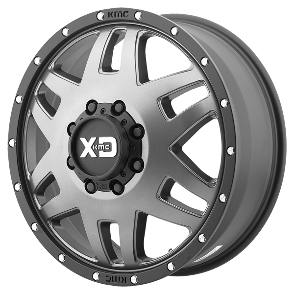 "Click here to buy XD Series XD130 Machete Dually 20x7.5 8x165.1 8x6.5"" +142mm Matte Gray Wheel Rim by XD Series."