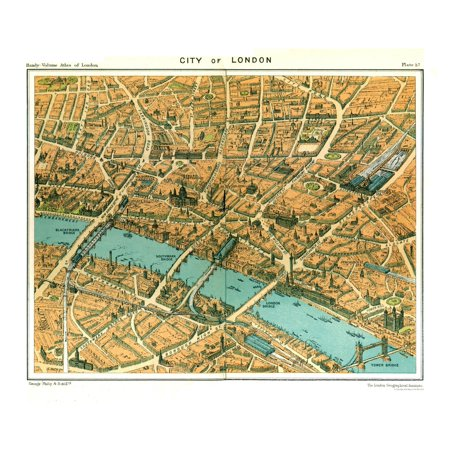Map City London.Old Great Britain Map City Of London Philips 1904 28 35 X 23