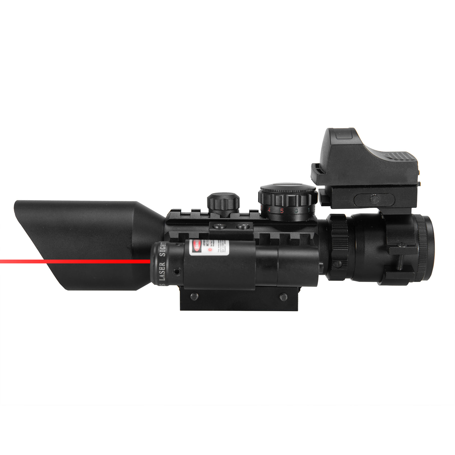 3-10X40EG Rangefinder Mil Dot Riflescope with Red Dot Sight & Laser Sight by