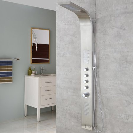 Luxier SP04-SS-D Multi-Function Thermostatic Rainfall and Waterfall Shower Tower Panel Massage Jets System with Handheld Shower Includes Rough-In Valve