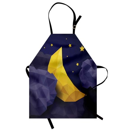 Cloud Effect (Geometric Apron Triangle Effect Graphic Night Sky New Moon Stars and Clouds Image, Unisex Kitchen Bib Apron with Adjustable Neck for Cooking Baking Gardening, Navy Blue Mauve and Yellow, by Ambesonne )
