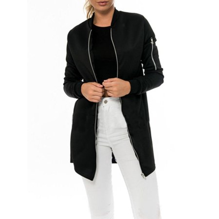 Women Long Sleeve Bomber Jacket Vintage Flight Army Biker Coat Outwear Zip - Deluxe Bomber Jacket