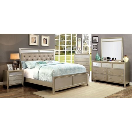Bedroom Furniture Platform Bed Silver Finish Fabric Padded Tufted Hb California King Size Bed Dresser Mirror Nightstand Gorgeous 4pc Set