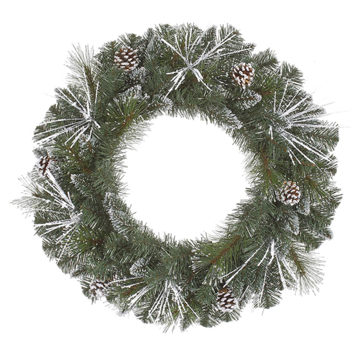 "36"" Flocked and Glittered Mixed Pine Christmas Wreath - Unlit"