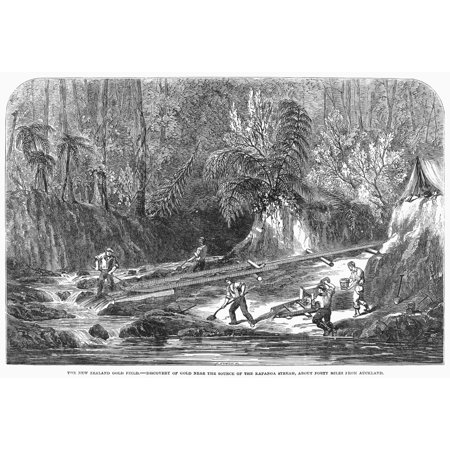 New Zealand Gold Mining Ndiscovery Of Gold Near The Source Of The Kapanga Stream About 40 Miles From Auckland New Zealand Wood Engraving English 1853 Rolled Canvas Art     24 X 36