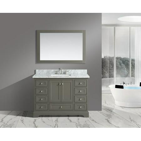 Italian White Carrara Marble - UrbanFurnishing.net - Jocelyn 48-Inch (48