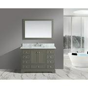 "UrbanFurnishing.net - Jocelyn 48-Inch (48"") Bathroom Sink Vanity Set with White Italian Carrara Marble Top - Distressed Gray"