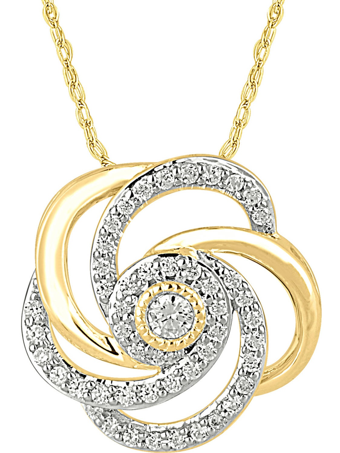 1/3 Carat T.W. Diamond 10kt Yellow Gold Floral Swirl Pendant