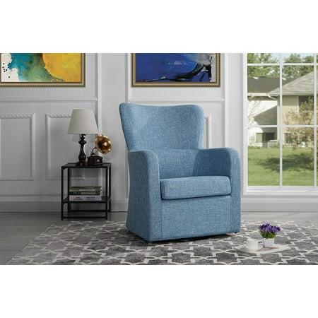 Astounding Modern Swivel Armchair Rotating Accent Chair For Living Room Light Blue Machost Co Dining Chair Design Ideas Machostcouk