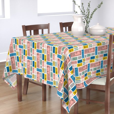 Tablecloth Tickets Ticket Retro Letters Train Travel Subway Cotton Sateen