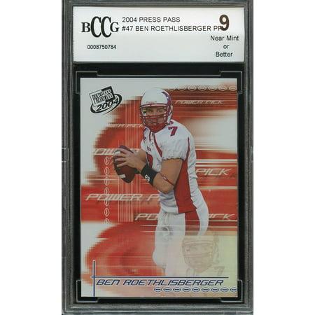 2004 Press Pass  47 Ben Roethlisberger Pp Pittsburgh Steelers Rookie Bgs Bccg 9