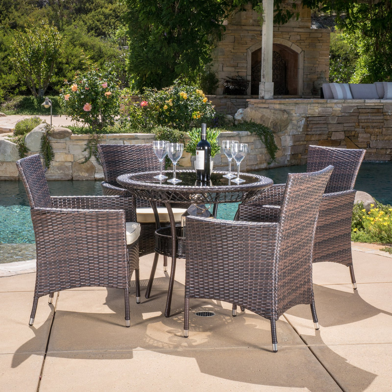 Best Selling Home Lamar 5 Piece Wicker Patio Dining Set