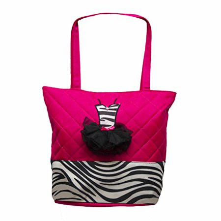 Girls Quilted Nylon Tote Bag w/ Zebra Trim & 3D Ballet Tutu Dress (Pink)