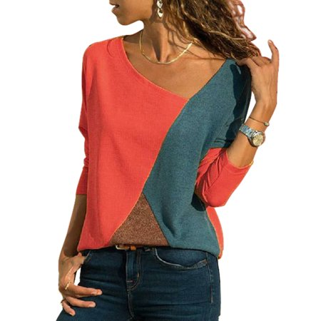 Womens Shirts and Blouses Long Sleeve Round Neck Shirt Color Contrast Patchwork Tops Loose T-Shirt Tee (Wet Tee Shirt Contest)