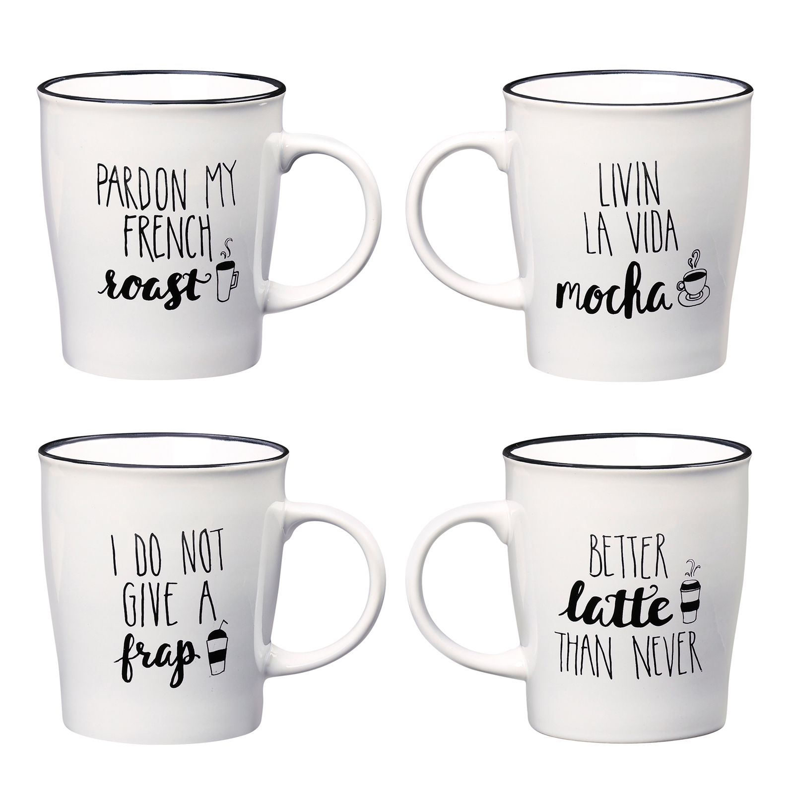 Punny Coffee Mugs, Assorted Set of 4