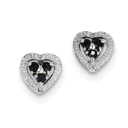 Sapphire 21 Jewels (Sterling Silver Rhodium Plated Diamond & Sapphire Heart Earrings Gem Wt- 1.48ct)
