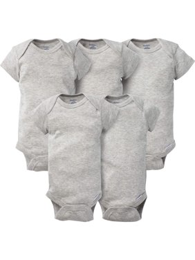 Gerber Newborn Baby Boy or Girl Gender Neutral Grey Short Sleeve Crafting Onesies Bodysuits, 5-Pack