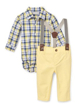 Product Image Plaid Suspender Pant Set (Baby Boys)