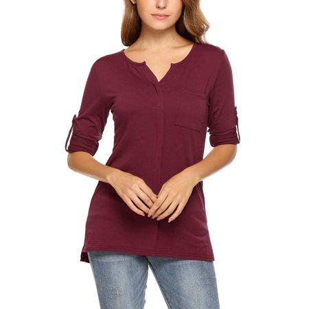 Women Long Sleeve Split V-neck Slim Casual Basic Solid T-shirt Tops HFON