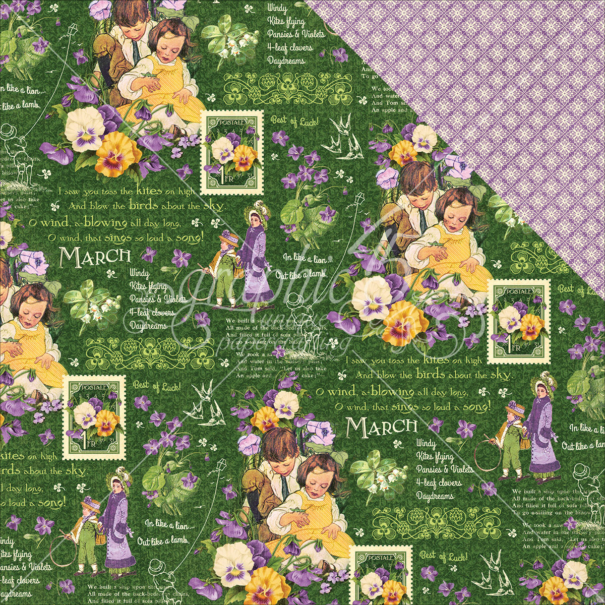 """Children's Hour Double-Sided Cardstock 12""""X12""""-March Montage"""