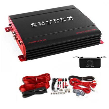 Crunch PX-2000.1D 2000 Watt Monoblock 1 Ohm Stable Power Amplifier + Wiring Kit