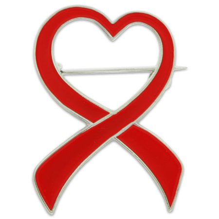Red Heart Awareness Ribbon Enamel Brooch Pin (10k Brooch)