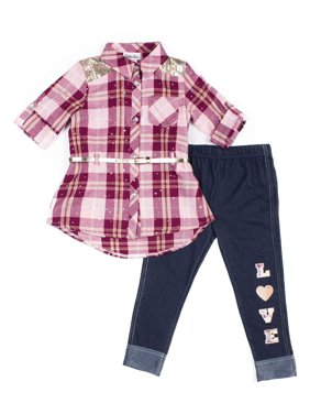 Little Lass Belted Plaid Button Down Top And Knit Denim Legging, 2-Piece Outfit Set (Little Girls)