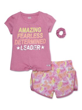 Hind Girls 4-16 Graphic T-shirt and Tie-Dye Running Shorts, 2-Piece Active Set