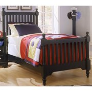 Youth Slat Poster Bed in Black Finish (Twin)
