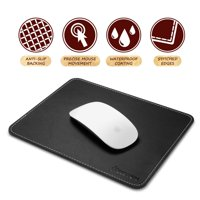Insten Mouse Pad for Laptop PC Computer Gaming with Anti-Slip Rubber Base & Waterproof Coating & Elegant Stitched Edges Black Leather (Size: 7 x 8.7 inches)