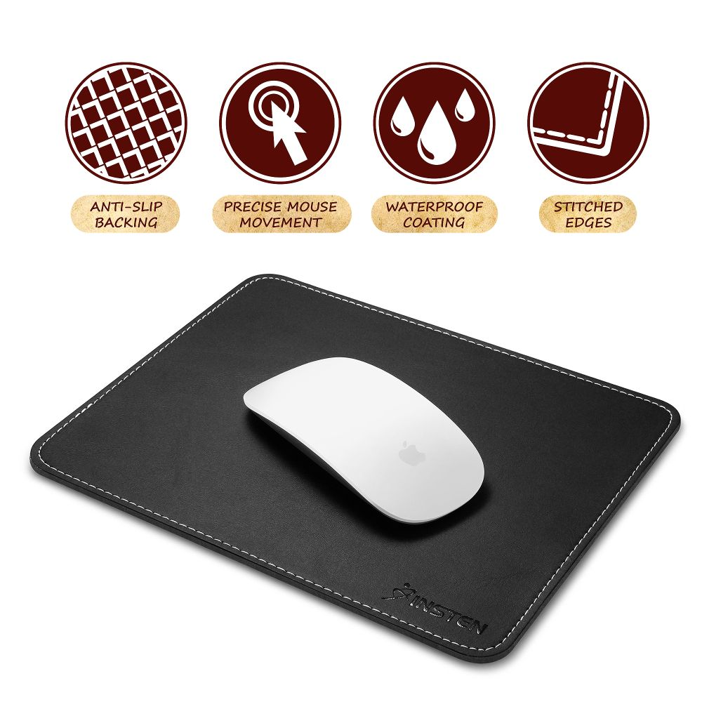 Insten Black Leather Mouse Pad with Anti-Slip Rubber Base & Waterproof Coating & Elegant Stitched Edges (Size: 7 x 8.7 inches) for Laptop PC Computer Gaming