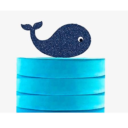 Whale Navy Blue Glitter Elegant Cake Decoration Topper