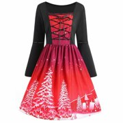 Akoyovwerve Christmas Dresses for Women Midi Flare Dress Swing Dress Xmas Plus Size Vintage Lace Up Party Dress,Red