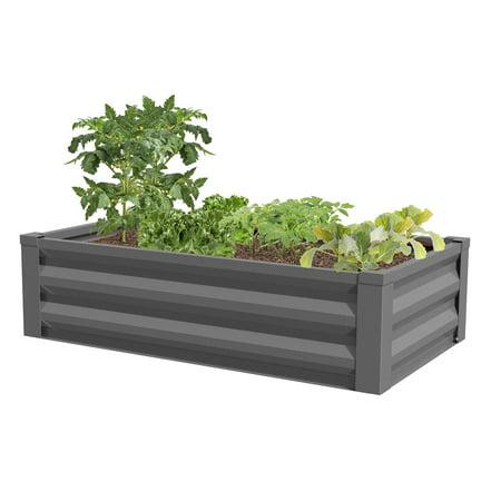 greenes fence powder coated metal raised garden bed planter 24 w x 48 l x 12 h. Black Bedroom Furniture Sets. Home Design Ideas